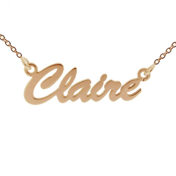 9ct Rose Gold Script Style Personalised Name Necklace
