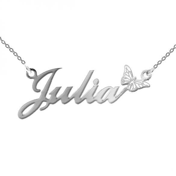 Sterling Silver Carrie Style Personalised Name Necklace with Butterfly