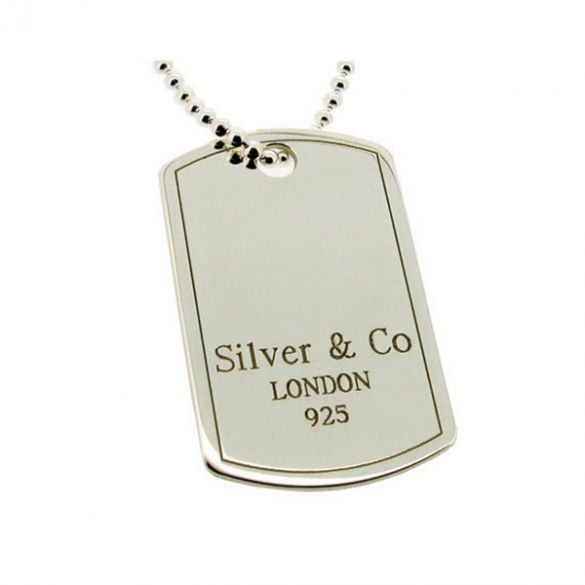 Sterling Silver & Co Large Dog Tag With Optional Engraving