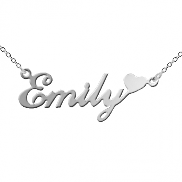 Sterling Silver Carrie Style Personalised Name Necklace with Heart