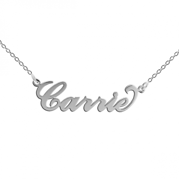 Sterling Silver Carrie Style Personalised Name Necklace with Curl