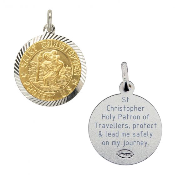 Sterling Silver and Gold Plated 18mm Diamond Cut St Christopher Pendant With Travellers Prayer