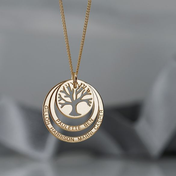9ct Yellow Gold Tree of Life Two Disc Family Necklace