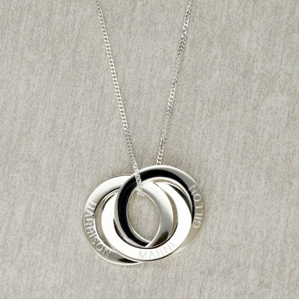 Sterling Silver Triple Russian Ring Family Circle Necklace
