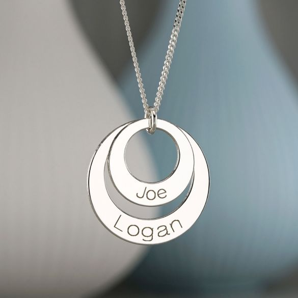 Sterling Silver Engraved Double Disc Pendant & Optional Chain