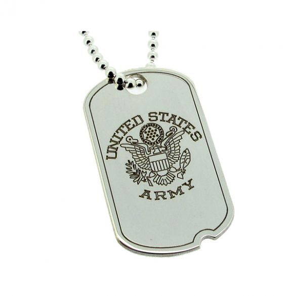 Sterling Silver US Army Style Eagle Dog Tag
