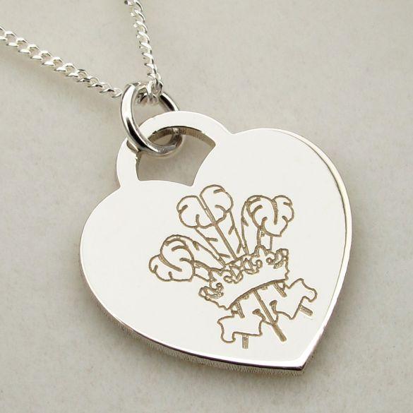 Sterling Silver Engraved Welsh Emblem Heart Pendant
