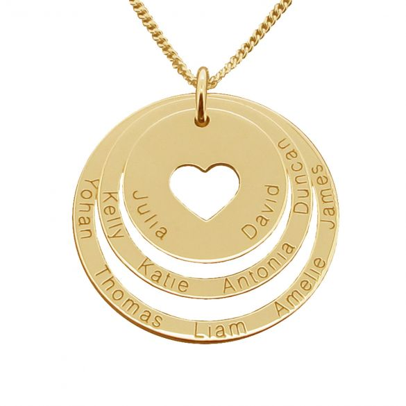 9ct Yellow Gold Plated Two Disc Cut Out Heart Personalised Family Necklace