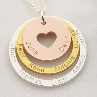 Three Colour 9ct Gold Plated Two Disc Cut Out Heart Personalised Family Necklace