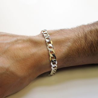 Sterling Silver Mens Flat Diamond Cut Curb Link Bracelet