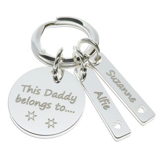 Sterling Silver Daddy Keyring With Personalised Tags