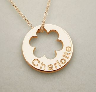 9ct Rose Gold Plated Engraved Cut Out Flower Disc