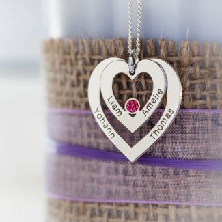 Sterling Silver Double Heart Personalised Necklace With Ruby