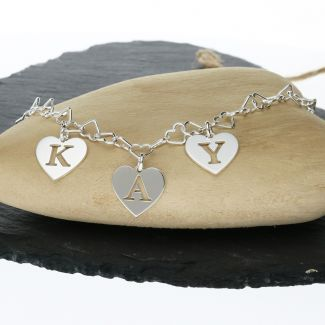Sterling Silver Initial Name Cut Out Heart Charms Bracelet Or Anklet