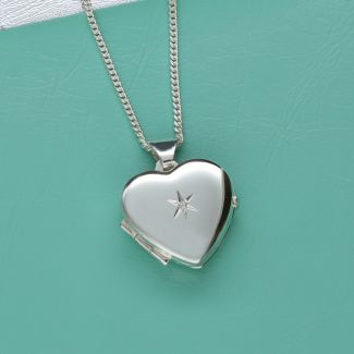 Sterling Silver Diamond Set Heart Locket With Optional Engraving & Chain