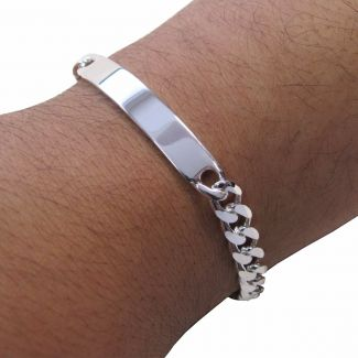 Sterling Silver 22 Gram Mens Curb ID Bracelet With Optional Engraving