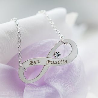 Sterling Silver Infinity Necklace With Diamond