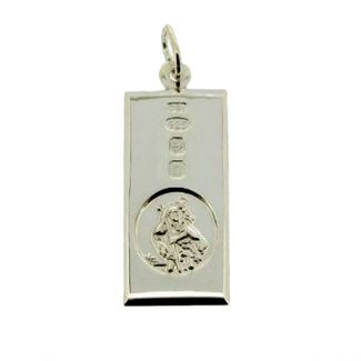 Sterling Silver Custom Hallmarked Large St Christopher Ingot With Optional Engraving