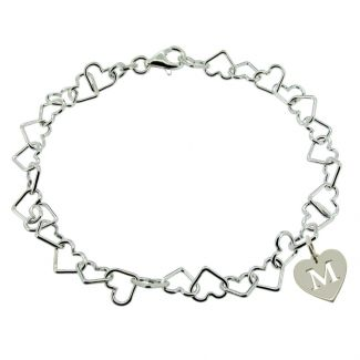 Sterling Silver Light Heart Charm Bracelet With Initial Heart Charm