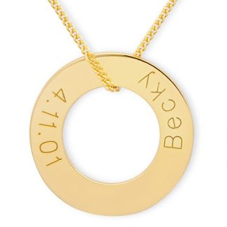 9ct Yellow Gold Plated Engraved Round Donut Karma Pendant