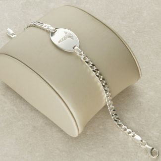 Sterling Silver Ladies Medic ID Bracelet With Free Engraving
