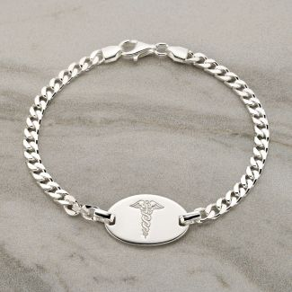 Sterling Silver Gents ID Medic Bracelet With Optional Engraving