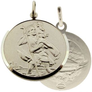 Sterling Silver 27mm Double Sided St Christopher Pendant