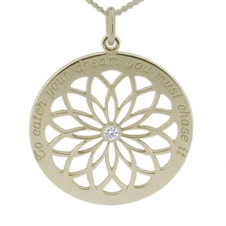 Sterling Silver Dream Catcher Necklace With Crystal