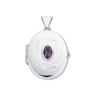 Sterling Silver Oval Locket With Amethyst & Optional Engraving
