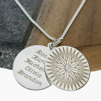 Sterling Silver North Star Pendant With Personalised Disc & Chain