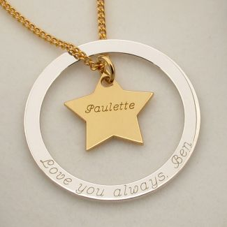 Sterling Silver Eternity Star Engraved Pendant Necklace