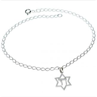 Sterling Silver Star Of David & Chai Pendant Bracelet