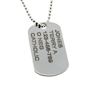 Sterling Silver Army Style Dog Tag With Optional Engraving