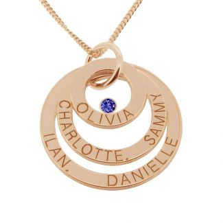 9ct Rose Gold Plated Engraved Triple Disc Personalised Family Necklace With Sapphire