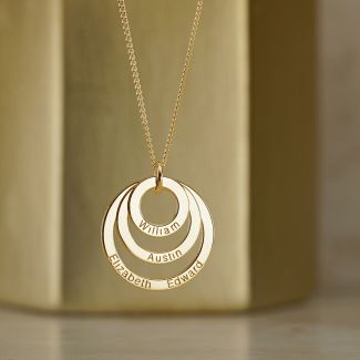 9ct Yellow Gold Plated Triple Disc Personalised Family Necklace
