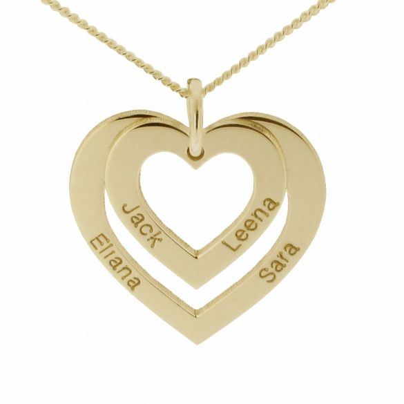 9ct Yellow Gold Double Heart Personalised Necklace