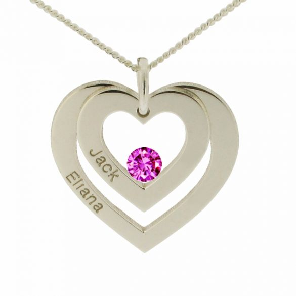 9ct White Gold Double Heart Personalised Necklace With Crystal