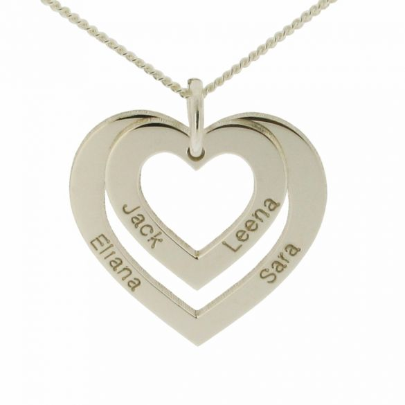 9ct White Gold Double Heart Personalised Necklace