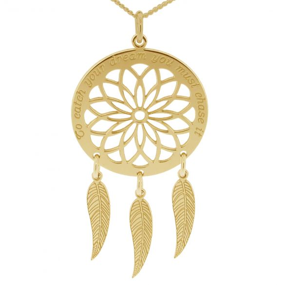 9ct Yellow Gold Dream Catcher and Feathers Necklace