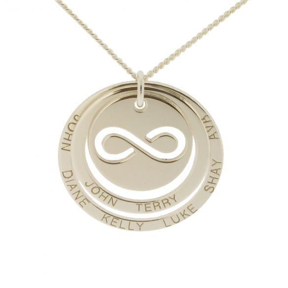 Solid White Gold Engraved Two Disc Cut Out Infinity Pendant Necklace