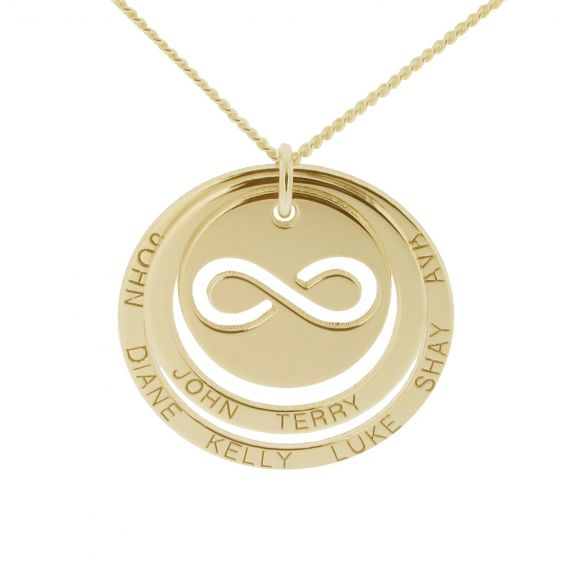 Solid Yellow Gold Engraved Two Disc Cut Out Infinity Pendant Necklace