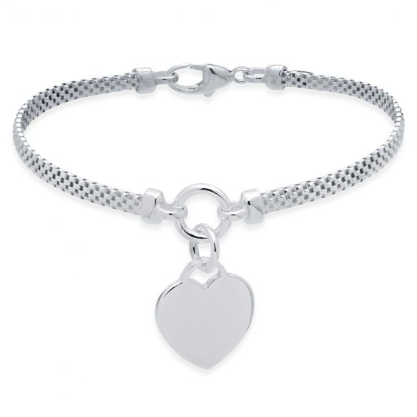 Sterling Silver Childs Heart on Woven Chain Bracelet With Optional Engraving