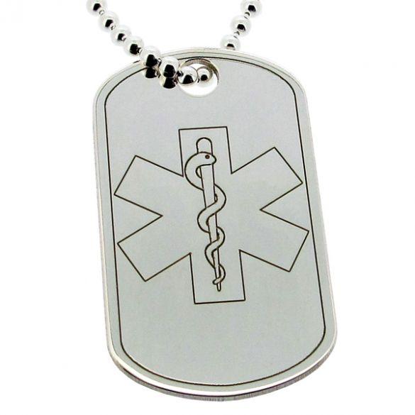Sterling Silver Medical Alert Snake Dog Tag With Engraving