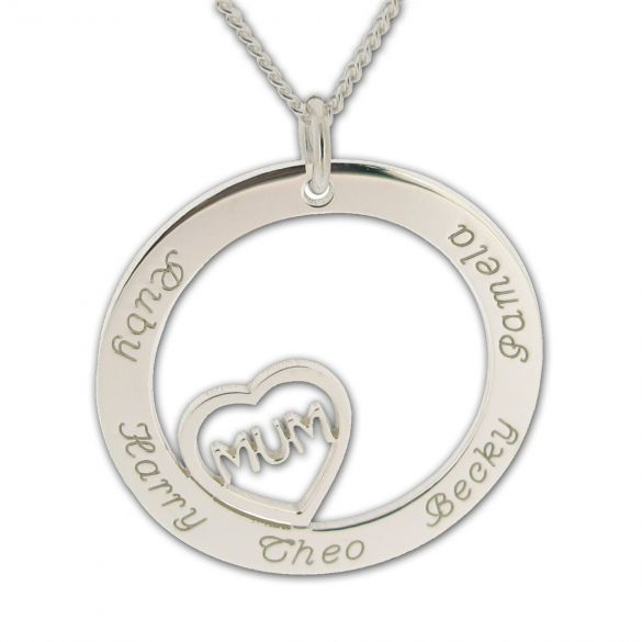Solid White Gold Mum Heart Disc Personalised Necklace