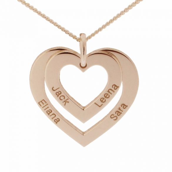 9ct Rose Gold Double Heart Personalised Necklace