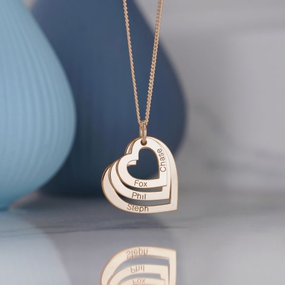 9ct Rose Gold Plated Triple Heart Personalised Family Necklace