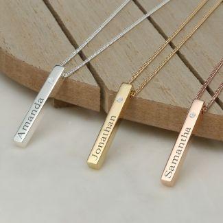 3D Engraved Name Bar Pendant With Swarovski Crystal & Chain