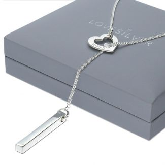 Sterling Silver Engraved Heart & 3D Name Bar Slip Through Necklace With Crystal Or Real Diamond