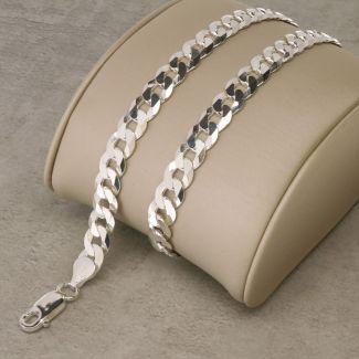 Sterling Silver 6.8mm Diamond Cut Curb Chain