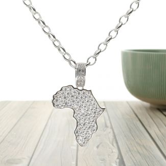 Sterling Silver and CZ Africa Map Pendant with Optional Chain